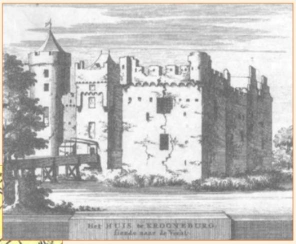 Kasteel Kronenburg te Utrecht (ets uit 1710 door Jacob Schijnvoet naar een prent van Roeland Roghman).