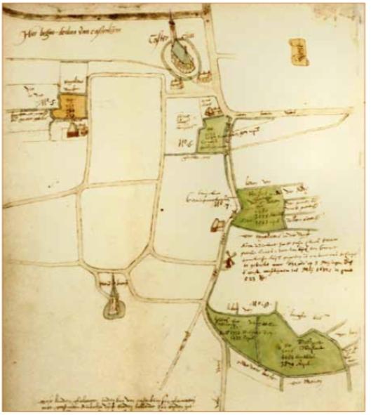 Kaartje van omstreeks 1594 met bezittingen van het Burgerweeshuis te Castricum. Hierop zijn ingetekend, linksboven de Schoenmakerswerf; rechts, van boven naar beneden: het Amsterdammerweidje, de Weere en de Wolversven. Het kaartje is getekend door Pieter Bruin en laat Castricum zien met de oude dorpskerk en kasteel Cronenburg. In de omgeving van de later zo geheten boerderij 'Albert's Hoeve staat een watermolen (Archief Burgerweeshuis, Stadsarchief Amsterdam).
