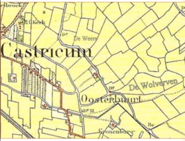 Kaart van de Oosterbuurt van omstreeks 1900 met de ligging van de Weere en de Wolversven.