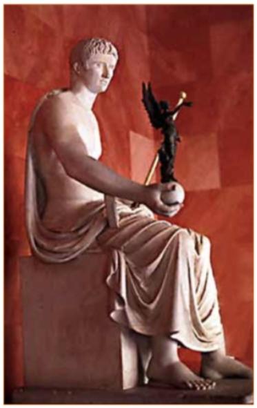 Keizer Augustus met Victoria-beeldje in de hand.