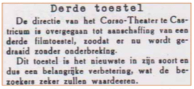 Krantenbericht over de aankoop van een derde filmprojector in oktober 1940.