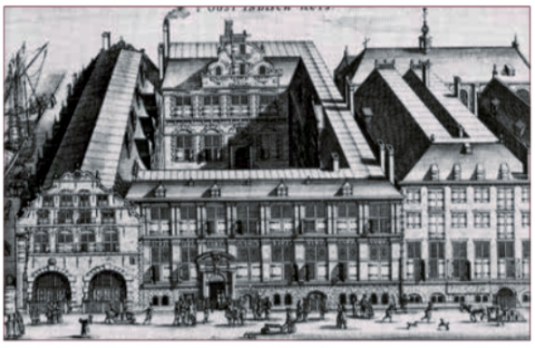 Het Oost-Indisch Huis aan de Oude Hoogstraat in het centrum van Amsterdam.