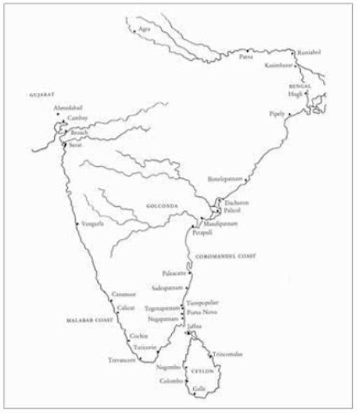 Kaartje van Zuid-India met de vestigingen van de VOC in het westen aan de Malabarkust, in het oosten op Ceylon en aan de Coromandelkust.