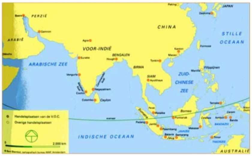 Kaart van de vestigingen van de VOC in Azië in de 17e eeuw.