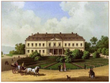 Schloss Neuwied in 1860. Het landhuis is nog steeds van de familie Von Wied. (P.Vogel, sammlung Alexander Duncker)