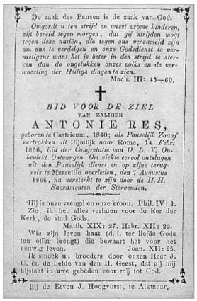 Bidprentje van Antonie Res (1840-1866).
