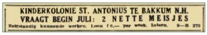 Een personeelsadvertentie in De Tijd, godsdienstig-staatkundig dagblad, van 14 juni 1938.