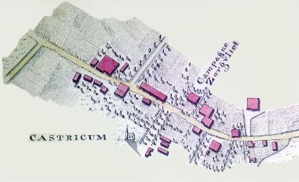 De Dorpsstraat in 1819. Detail van de kaart van de weg van Castricum naar Heiloo, vervaardigd in 1819 door Chr.W.M. Klijn.
