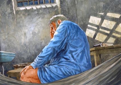 Pieter Kieft in gevangenschap. Tekening door Fred Marschall.