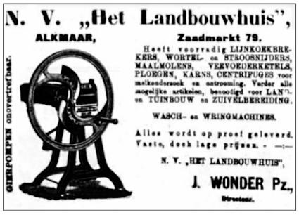 Advertentie uit de Schager Courant van 23 februari 1908 met afbeelding van een hakselmolen.