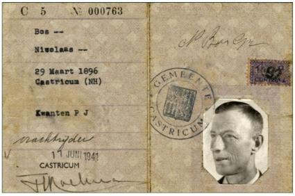 Persoonsbewijs van Klaas Bos.