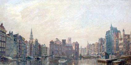 Damrak en Beurs van Berlage Amsterdam gezien vanaf Centraal Station. Olieverf op doek van Henri Braakensiek, 1939. Privé-collectie.