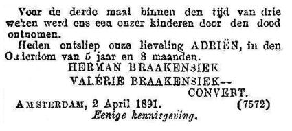 Overlijdensadvertentie, Amsterdam 1891.