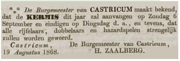 Bericht in Opregte Haarlemsche Courant van 19 augustus 1868.