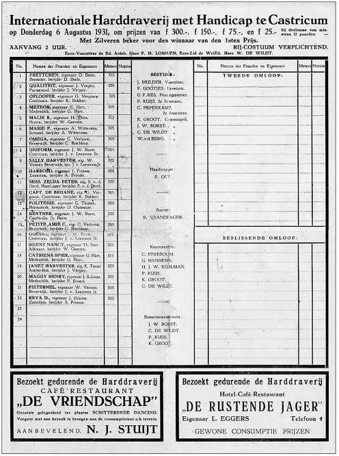 Voorzijde van het programmablad van de Kortebaan van Castricum in 1931.