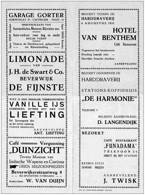 Achterzijde van het programmablad van de Kortebaan van Castricum in 1931.
