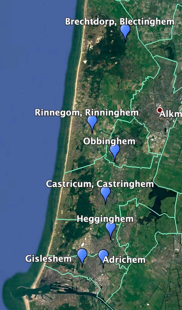 Kaart met Kennemerlandse inghem-namen.