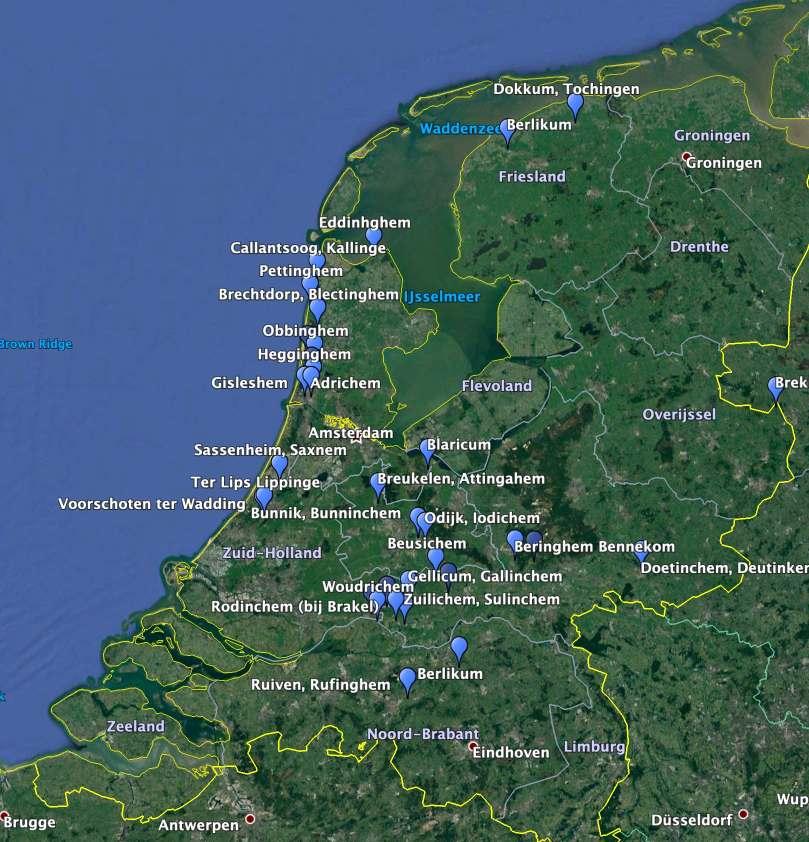 Kaart met Nederlandse -inhem namen.