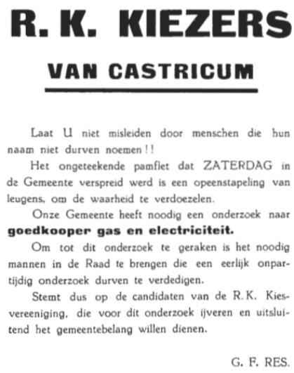 Een van de pamfletten in de heftige strijd tussen voor en tegenstanders voor aansluiting bij het PEN en het gasbedrijf Beverwijk.
