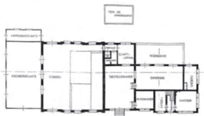 Een plattegrond van het fabrieksgebouw met daarbij aangegeven de indeling bij de start in 1914.