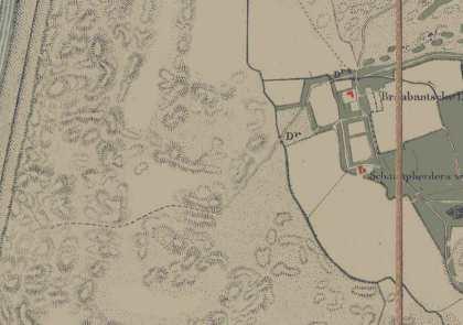 Schulpweg rond 1900 (gestippeld).