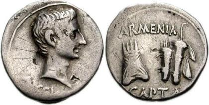 Armenia Capta (veroverd)        IUDEA CAPTA, de verovering van door Tiberius voor Augustus        Jerusalem (Vespasianus and Titus               in 20 v.C.