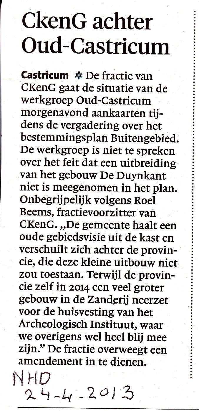 Gemeentebestuur werkt niet mee aan uitbreiding gebouw Oud-Castricum – CkenG achter Oud-Castricum