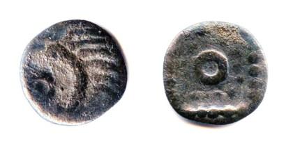 Sceatta Friesland (vóór 730 n.C.).  Stekelvarken type Onbekende variant, mogelijk invers geslagen