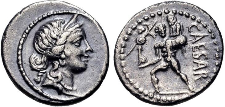 Zilveren denarius van Julius Caesar, geslagen in Asia Minor ca. 48-47 v.Chr.