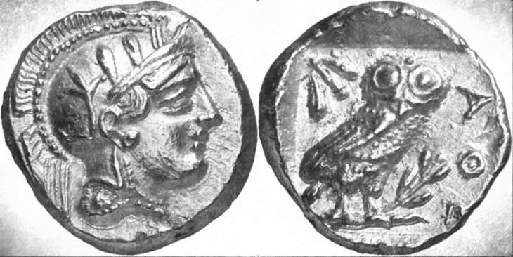 Gouden Atheense stater, geslagen ca. 407-404 v.C. (getekende reproductie)
