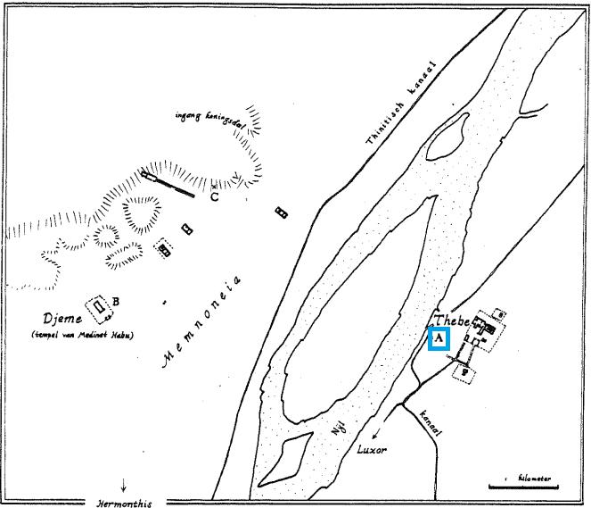 Kaart van Thebe met daarop het huis van de choachieten