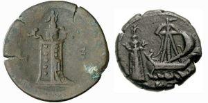 Halve drachme van de Romeinse keizer Antoninus Pius met de pharos en tetradrachme van de keizer Commodus met de pharos en een zeilschip