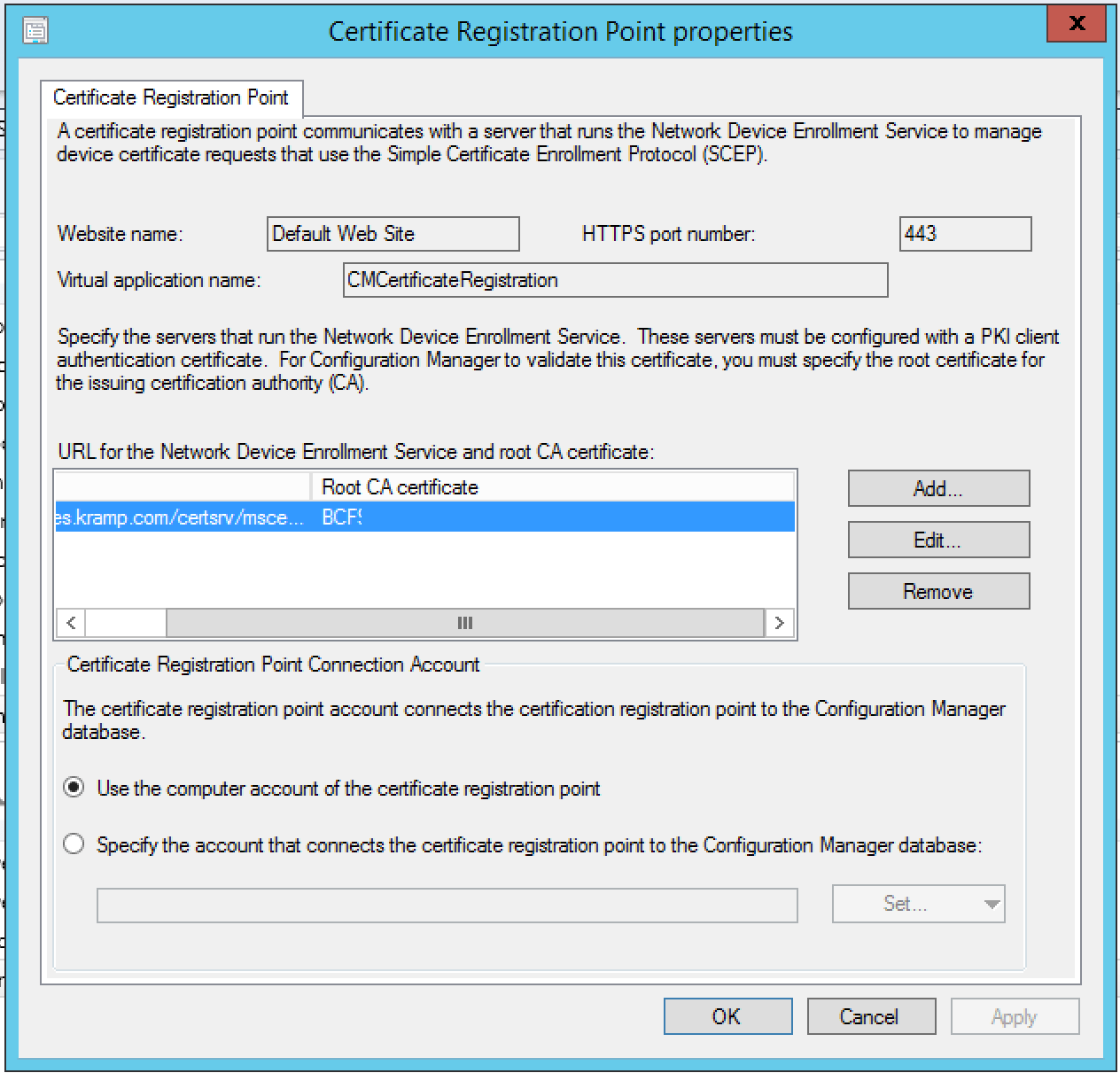 Intune/SCCM hybrid with NDES does not deploy any certificate