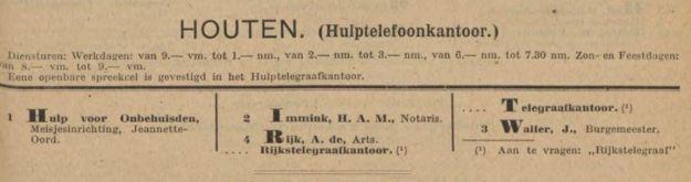 Telefoonboek Houten 1913