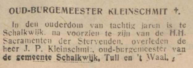 Burgemeester Kleinschmit overleden