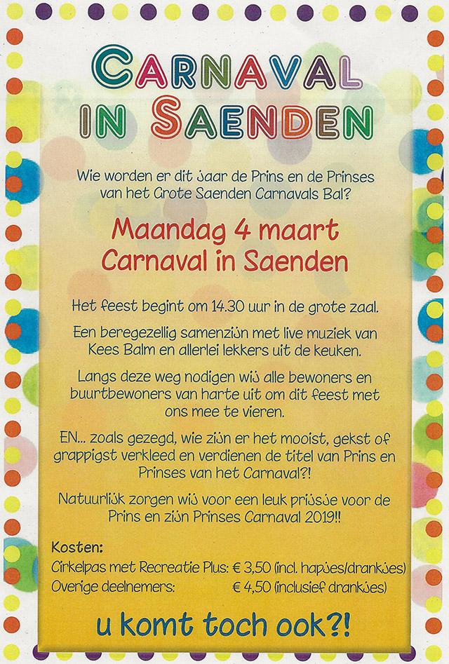 Informatie over carnaval in Saenden
