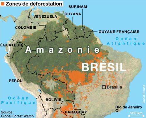 En vert, la surface de l'Amazonie, qui s'étend sur plusieurs pays, et en orange les zones de déforestation.