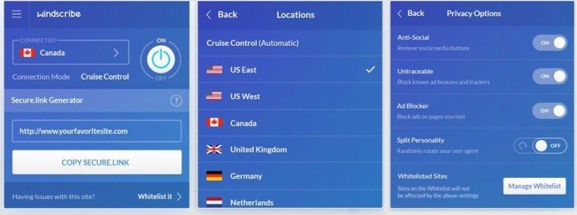 Windscribe  бесплатный VPN сервис.