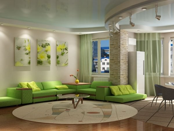 дизайн гостиной совмещенной с кухней 6