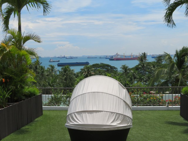 Day bed with view across the South China Sea