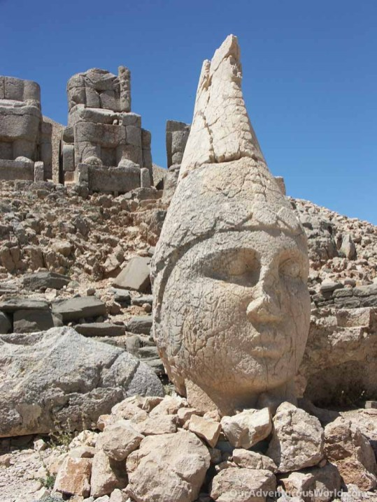 Stone head on Mount Nemrut - Turkey.