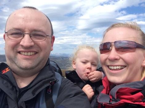 Adam, Julie & Elizabeth atop Carn Aosda, Scotland.
