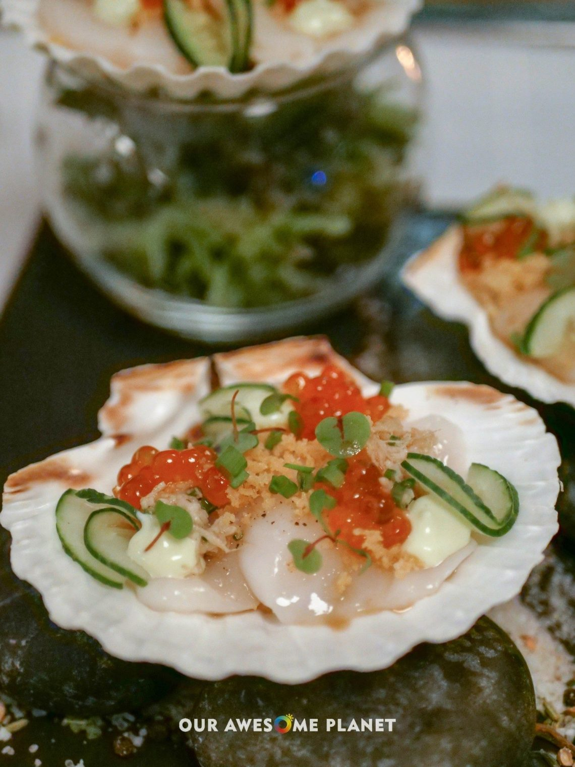Scallop Ceviche (₱620). Ponzu, ikura, tempura flakes, wasabi mousse