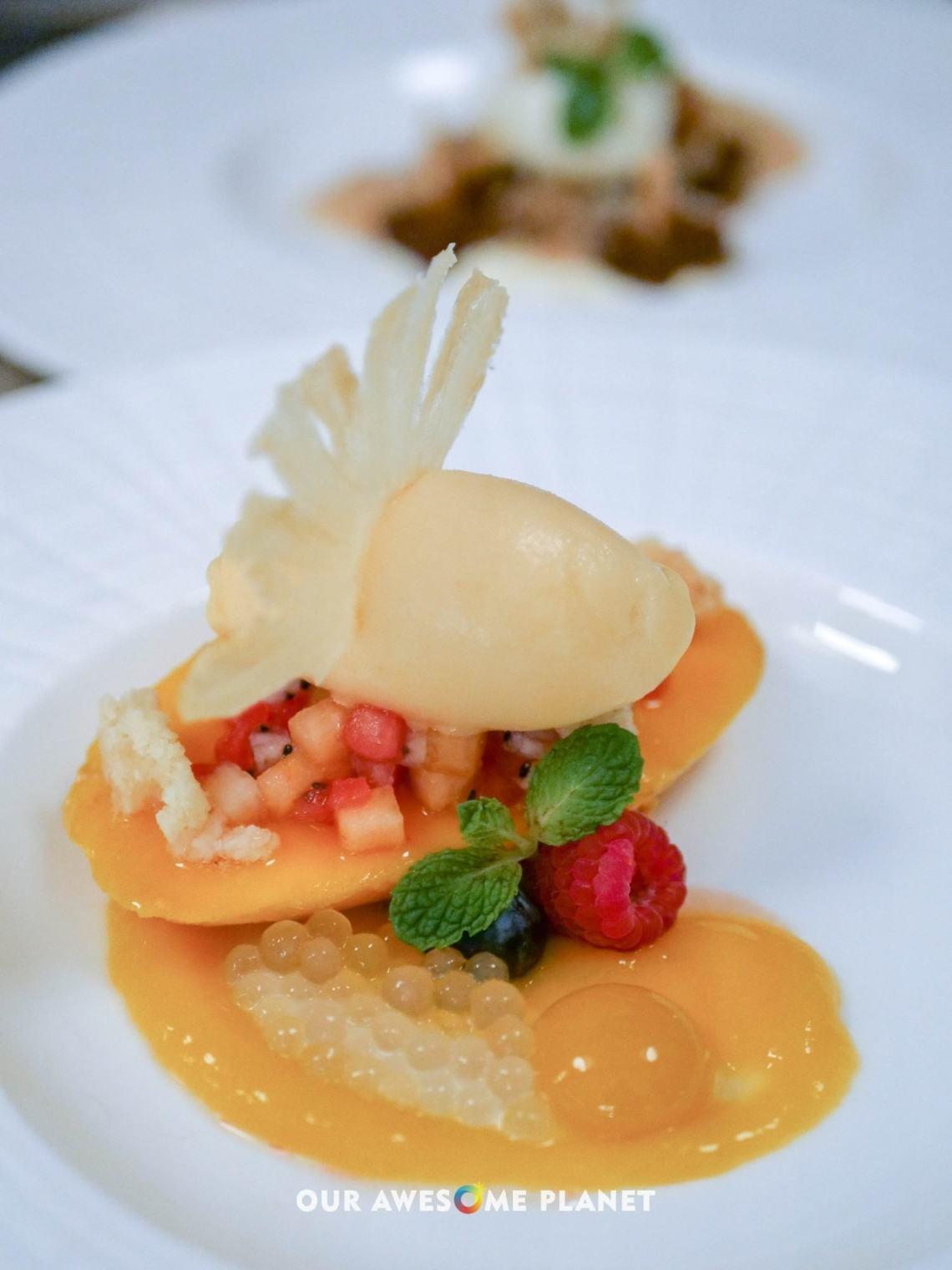 Roasted Mango(₱360). Tropical fruit sorbet, graham crumble, mango sphere, tapioca pearls