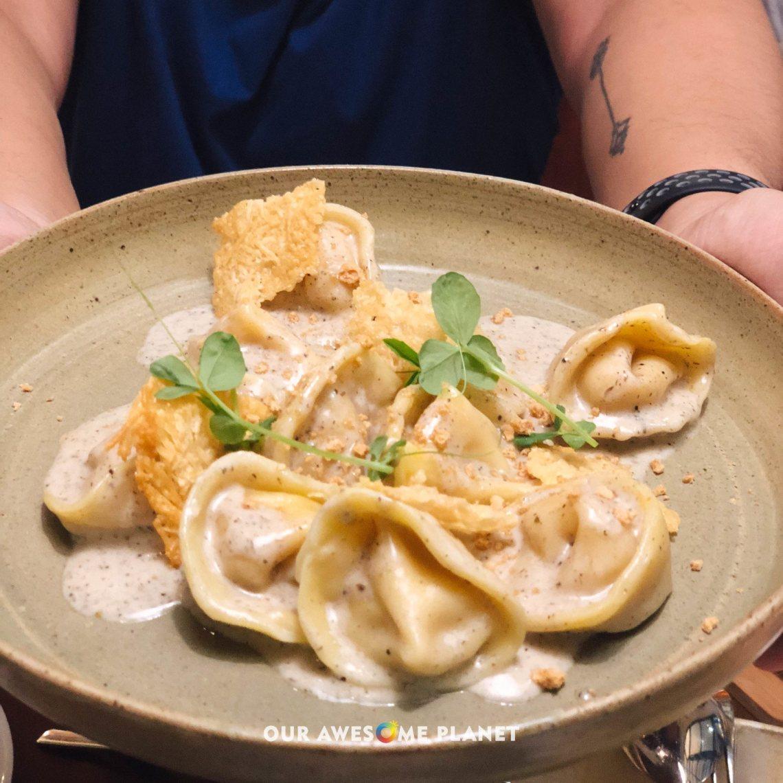 Tortelli di Zucca (₱350). Tortellini filled pumpkin, amaretti cookies with truffle cream sauce.