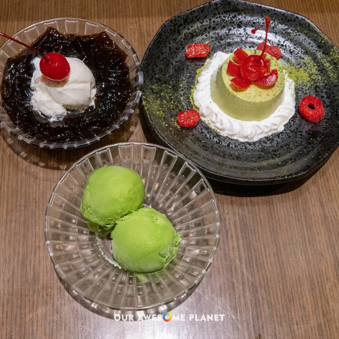 Coffee Gelatin, Matcha Panna Cotta, Matcha Ice Cream