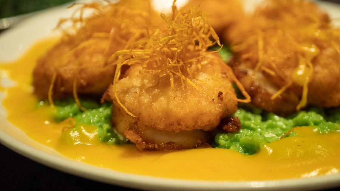 Deep-fried scallop, minced shrimp, pumpkin sauce