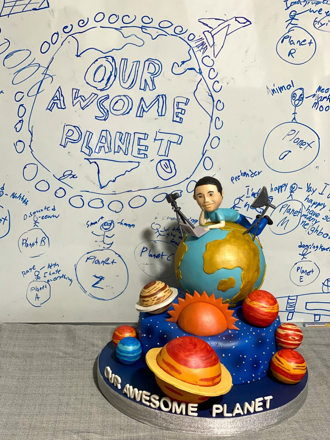 Our Awesome Planet Customized Cake made with Banana Chocolate Cake and lots of planets