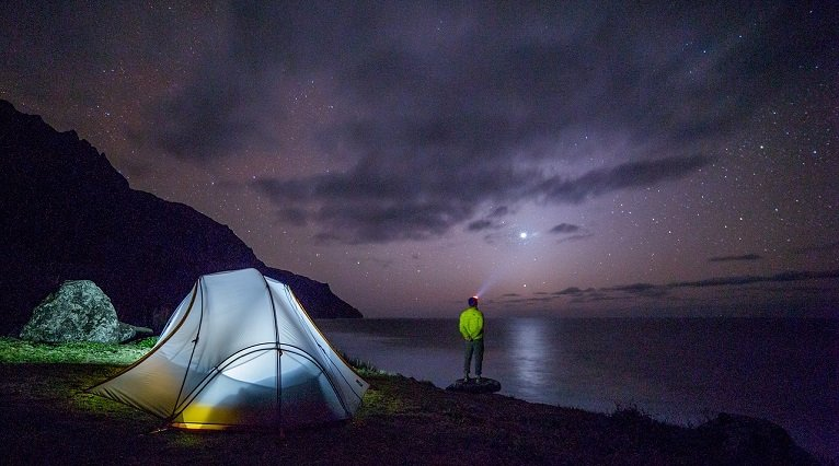 Man Camping in sea side