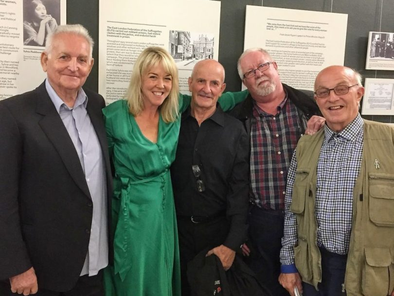Author, Kate Thompson, with Geezers (L-R) Don Tomlin, Ricky Ayliffe, Barrie Stradling, & Ray Gipson.